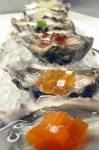 "Le Bernardin's progressive tasting of Kumamoto oysters ""en gelée"": from light and refreshing to complex and spicy."