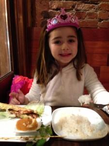 Princess S eating satay