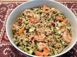 Baked shrimp salad with orzo + ouzo