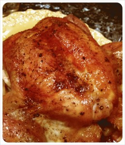 Tea and clementine-roasted chicken with smoked salt