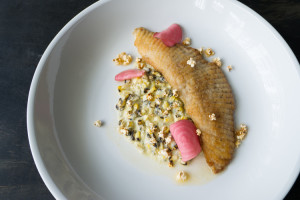 Skate with corn chowder and smoked eggplant purée. Photo by Morgan Ione Yeager.
