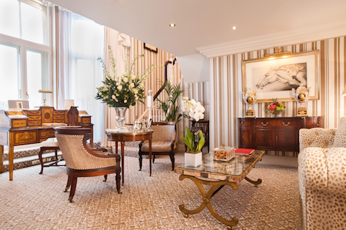 The sitting room in the Kensington Garden Suite. The windows overlook Kensington Gardens.