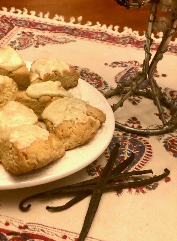 vanilla bean eggnog scones
